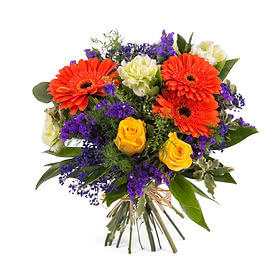 """Arrangement with Gerbera Daisies and Roses"""""""