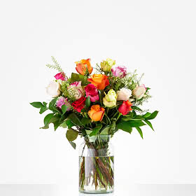Colourful roses; excl. Vase